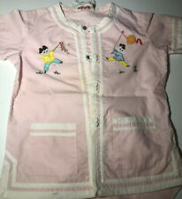 Vtg Plum Blossoms Girls 60s Applique Pajamas Chinese Asian Pink White Trim
