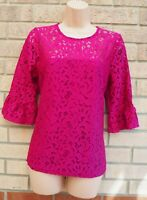 PINK MAGENTA FLORAL LACE 3/4 FLARE SLEEVE ELEGANT BLOUSE T SHIRT TUNIC TOP 16 XL