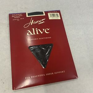 Hanes ALIVE Full Support Sheer Toe-Waist Sandalfoot Pantyhose B811 Size B JET