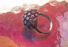 Fascinating Vintage Russian Sterling Silver Hematite/ Marcasite Dome Ring