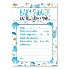 Baby Shower Game 'Baby Prediction & Advice' Blue Gold 16 A6 Cards Same day post.