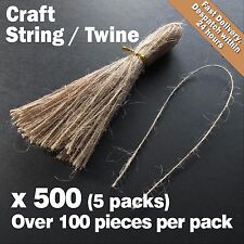 Over 500 x Natural 1-Ply String/Twine/Hessian for Wedding/Gift/Crafts Hang Tags