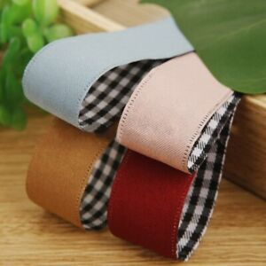 5 yards Double-color Lattice Print Ribbon for SewingSupply Gift Packing Ribbons