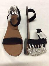 Qupid Athena-768 Women's Strappy Flat Sandals, Black, Size 7 M