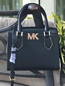 MICHAEL KORS WOMENS LEATHER CROSSBODY BAG SHOULDER PURSE MESSENGER BLACK GOLD