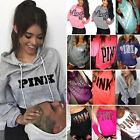 PINK Women Long Sleeve Hoodie Sweatshirt Jumper Sweater Pullover Blouse Tops Hot