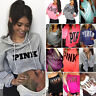 PINK Women's Long Sleeve Hoodie Sweatshirt Jumper Sweater Pullover Tops Blouse