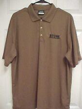 STONE ENERGY Corp Oil Gas Men Brown Short Sleeve Golf Polo Shirt L Nike Dri-Fit