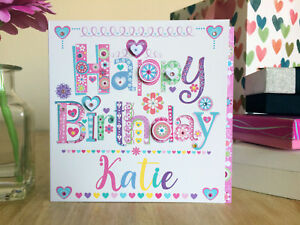 Birthday girl personalised card Birthday card for a girl/female personalised