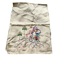 Vintage Embroidered Runner Dresser Scarf Lady In A Hat