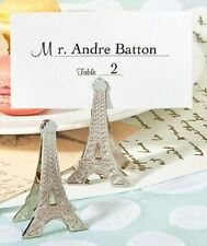 "Place Card Holder - Eiffel Tower Design - Silver Metal - 2"" high -Card Included"