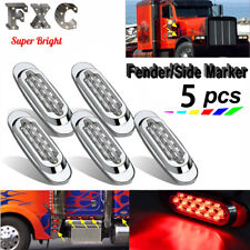"""5x 6.5"""" Clear Lens Red Light 16 Diodes LED Waterproof Side Marker Bulb Car Truck"""
