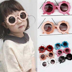KIDS Sunglasses Girls Flower Shaped Black Children Classic Vintage Holiday UV400