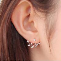 Women Gold Plated Leaf Crystal Ear Jacket Double Sided Swing Stud Earrings