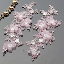 1 Pair Flower Beaded Lace Motif Applique Trim Wedding Bridal Sewing Crafts DIY