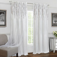 Embroidered Double-Layer Floral 2-Pack Window Curtain Rod Pocket Panels
