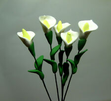 5 Miniature White Clay Calla Lily Flower Bunch 1:12 Dollhouse Living Room Decor