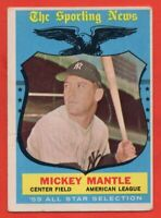 1959 Topps #564 Mickey Mantle VG-VGEX CREASE All-Star New York Yankees FREE S/H