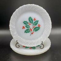 "Set of 4 Vintage TERMOCRISA HOLLY & BERRY Milk Glass 7"" Bread Dessert Plate NICE"