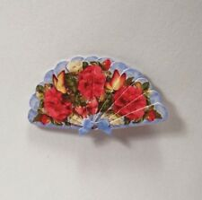 Miniature Paper Hand Fan Dollhouse Diggs 1:12 Bright Red Flowers & Butterflies