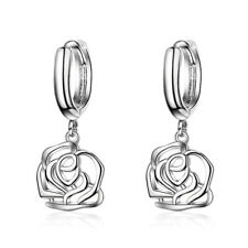 18K Gold Plated Hollow Rose Drop Dangle Snap Closure Earrings Women Jewelry Gift