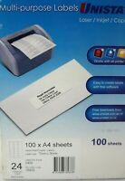 UNISTAT Multi-Purpose Labels for Lazer Inkjet Copier 100 x A4 Sheets