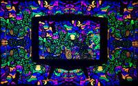 Psy Backdrop Tapestry Fluoro Psychedelic Art Trippy Wall Art Visionary Hippie UV