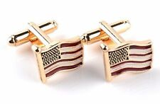 Gift Bag + Quality USA cuff links Gold Tone States Cufflinks US Flag America GLD