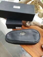 Vintage Comoy's Of London Pipe And Tobacco pouch Black Leather Made By Hand Rare