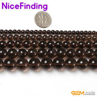 """Natural Smoky Quartz Crystal Round Stone Beads For Jewelry Making Gesmtone 15"""""""