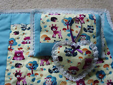 Handmade Dolls Bedding Pram  Blanket Quilt,Pillow & Heart set