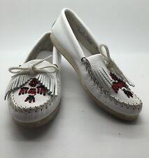 MINNETONKA White Leather Beaded Thunderbird Indian Moccasins Loafers Women's 6M