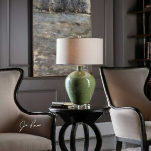 ELVA AGED EMERALD GREEN CERAMIC CRYSTAL BASE ACCENT TABLE LAMP UTTERMOST