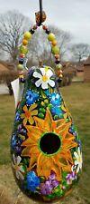 "Hand Painted Gourd BirdhouseBasket of Flowers Bird 14"" tall x 22"" - Weatherproof"