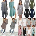 Oversized Women Long Sleeve Asymmetric Boho Dress Casual Jumper Blouse Top Shirt