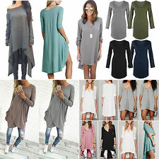 Oversized Women Long Sleeve Asymmetric Boho Dress Casual Jumper Blouse Top Shirt