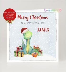 Personalised Dinosaur Christmas Card Son Daughter Grandson Granddaughter Nephew