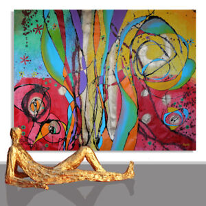 LARGE PAINTING # ARTWORK DESIGN DESIGN WALL ART DECOR ABSTRACT UNIQUE * 78 x 55