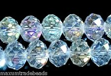 Una stringa di Flat round AB BIANCO facted Rondelle CRYSTAL BEADS 10x8mm