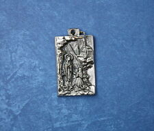 Catholic Medal of Virgin Mary Our Lady of Lourdes & St. Bernadette silver finish