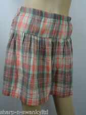 ANIMAL Ladies Pink/Aqua Checked 100% Cotton Short Skirt UK 10 EU 38