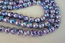 20 Silver/Blue/Purple 10mm Opaque Glass Beads #g3565 Combine Postage-See Listing