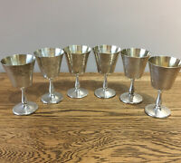 Vintage Silver Plated Goblets X6 Made In England. Floral Engraving 10.75 Cm