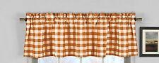 lovemyfabric Gingham Checkered Plaid Design Kitchen Curtain Valance-Orange