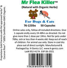 50 Cap AllNatural Herbal Fast Flea Killer Control Dog Cat 76-125lb Guaranteed N4