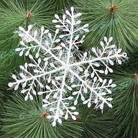 6pcs 11cm Plastic White Snowflakes Christmas Xmas Tree Decorations Ornaments  I