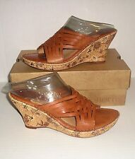 BORN Drilles Women's Camel Woven Leather Wedge Dress Sandals Slides 9 M /40.5 EU