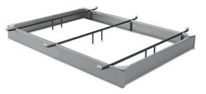 """Queen Pedestal Bed Base 6-1/4"""" Pewter Finish Steel Frame"""