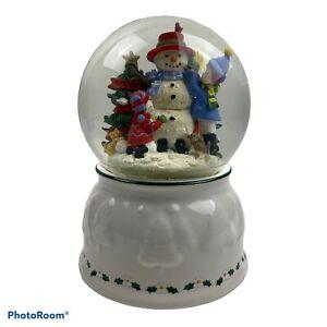"""Vintage Pfaltzgraff Perennials Snow Village Musical Snow Globe Frosty Snowman 7"""""""