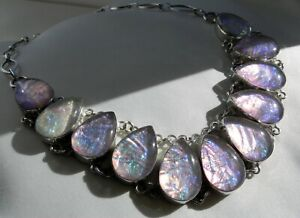 ✨SUMPTUOUS✨HEAVY✨ 85g sterling silver 925 dichroic glass choker collar necklace